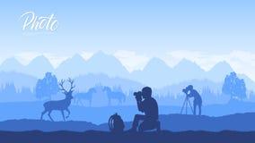 Un fotógrafo con el equipo libre illustration