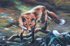 Un Fox, graffiti dans le style urbain Photographie stock