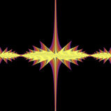 Un fractal determinado de Juila en cortinas del rojo y del amarillo Imagen de archivo libre de regalías