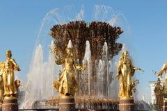 Un fragment de l'amitié de ` de fontaine du ` de peuples chez VDNKh VVC Image libre de droits