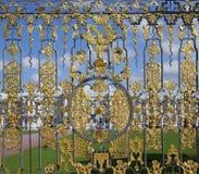 Un fragmento de una cerca del frente del enrejado de Catherine Palace Tsarskoye Selo Foto de archivo libre de regalías