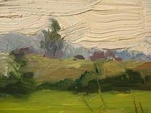 Un frammento della tela di canapa con le pitture ad olio. Fotografia Stock