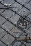 Un frammento di vecchia porta di legno con la maniglia ed il bullone del metallo tex Immagine Stock Libera da Diritti