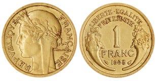Un Franc Coin Isolated Photos stock
