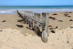 Un frangiflutti di legno stagionato su una spiaggia sabbiosa Fotografia Stock Libera da Diritti