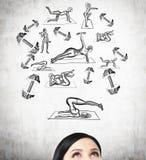 Un front d'une femme de brune qui pense aux formations de crossfit illustration stock