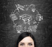 Un front de la dame qui pense à l'étude et à l'obtention du diplôme Des icônes éducatives sont dessinées sur le tableau noir Image libre de droits