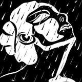 Un fronte del ` s della donna nelle gocce di pioggia su un fondo nero illustrazione di stock