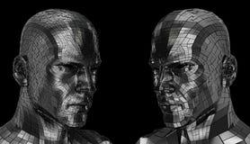 Un fronte di due robot che sembra sideway attraverso la macchina fotografica Fotografie Stock Libere da Diritti