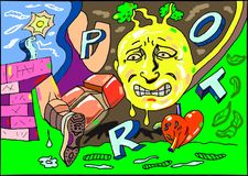 Un fronte, un cuore e un graffito della gamba illustrazione vettoriale