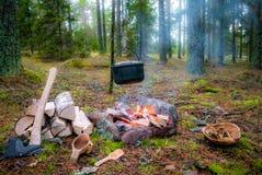 Un fuego del campo del bushcraft con el pote, el hacha y el kuksa de la ejecución fotos de archivo libres de regalías