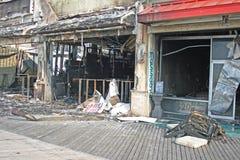 Un fuego destruyó cinco almacenes Foto de archivo libre de regalías