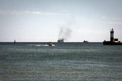 Un fuego en un buque mercante Foto de archivo libre de regalías