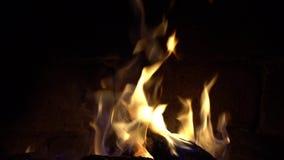Un fuego quema en una chimenea del ladrillo, mantiene caliente almacen de video