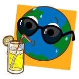 Limonata bevente della terra del pianeta Immagine Stock Libera da Diritti