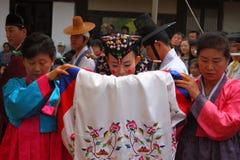 Un funcionamiento de la boda coreana tradicional Foto de archivo libre de regalías
