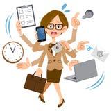 Un funcionamiento de vidrios de la mujer que lleva en una compañía que está demasiado ocupada stock de ilustración