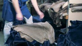 Un funcionamiento substituye la piel animal en una fábrica almacen de metraje de vídeo