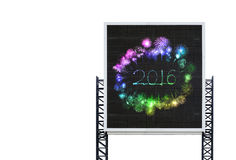 Un fuoco d'artificio da 2016 buoni anni sul grande bordo del segno Immagine Stock Libera da Diritti