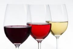 un fuoco di 3 vini su rosé Immagini Stock