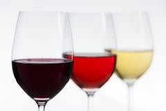 un fuoco di 3 vini su rosso Immagine Stock