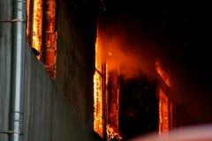 Un fuoco in un magazzino a 108 Frolovska Fotografie Stock