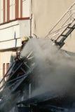 Un fuoco in un magazzino a 108 Frolovska Fotografia Stock