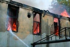 Un fuoco in un magazzino a 108 Frolovska Immagine Stock Libera da Diritti