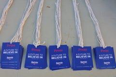 Un futuro a creer en el pase de prensa para el candidato presidencial, senador Bernie Sanders, 2016 de los E.E.U.U. Imagen de archivo libre de regalías