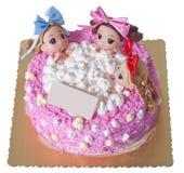 Un gâteau créatif de trois filles s'asseyant dans la baignoire Image stock