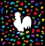 Un gallo del festival debajo de una presa del color Foto de archivo libre de regalías