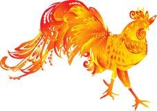 Un gallo rojo de la llama en blanco libre illustration