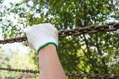 Un gancio di tirata della mano che appende sul fondo della natura Fotografia Stock Libera da Diritti