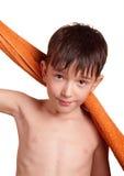 Un garçon après bain Photographie stock