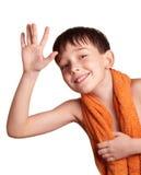 Un garçon après bain Photo stock