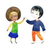 Un garçon avec une fille tenant des mains Image libre de droits