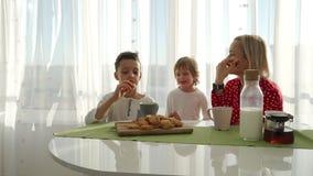 Un garçon caucasien mignon adorable mange le biscuit près de sa jeune mère avec les cheveux blonds Peu de frère vole banque de vidéos