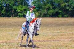 Un garçon dans des vêtements nationaux russes et un poney au festival du sport équestre photos stock