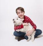 Un garçon et son crabot Images libres de droits