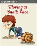 Un garçon et un escargot illustration de vecteur