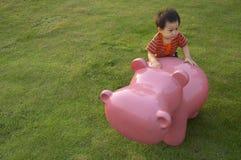 Un garçon et un hippopotame Photographie stock