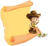 Un garçon et une feuille de papier illustration stock