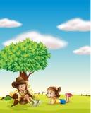 Un garçon et une fille illustration libre de droits