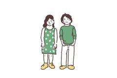 Un garçon et une fille illustration stock