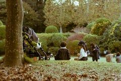 Un garçon et une fille s'asseyant ensemble sur l'herbe en parc de Shinjuku Gyoen Photographie stock