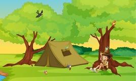 Un garçon et une tente pour camper illustration libre de droits
