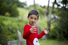 Un garçon heureux montrant une expression heureuse photographie stock libre de droits