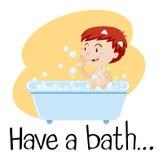 Un garçon prenant Bath Photos libres de droits