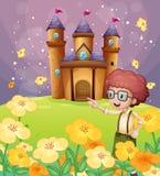 Un garçon se dirigeant près des fleurs dans la colline avec un château illustration libre de droits