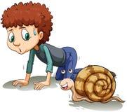 Un garçon suivant l'escargot illustration stock